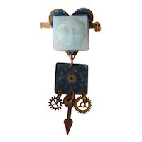 Beautiful glass man in the moon steampunk pin for doll