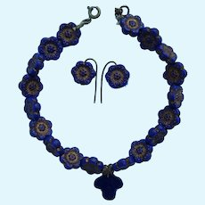 Beautiful cobalt pressed glass jewelry for bebe