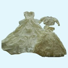 Two nice vintage silk satin & lace doll dresses