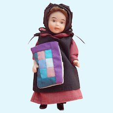 """Cute vintage 6"""" all bisque Amish girl"""