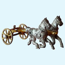 Charming antique cast iron toy horses pulling cart for doll/dollhouse display