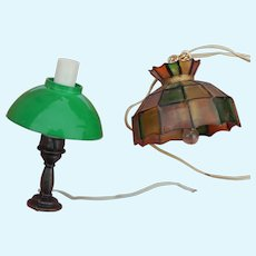 Two vintage miniature electric lamps for dollhouse