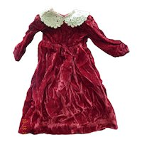 Pretty vintage handmade crushed velvet doll dress