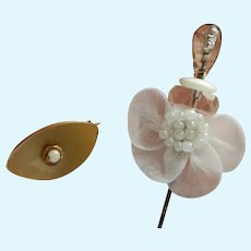 Lovely old hatpin & collar pin for doll