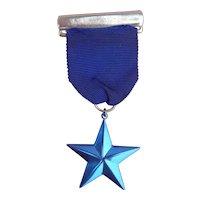 Vintage star award medal ribbon for doll or bear