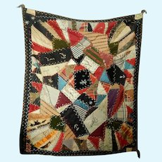 Lovely small antique crazy quilt made by a child