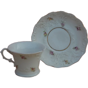 Pretty antique porcelain demitasse cup & saucer for doll display