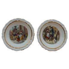 Lovely set of two small English fine china plates for doll display