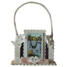 Sweet small vintage paper mache Easter basket for doll