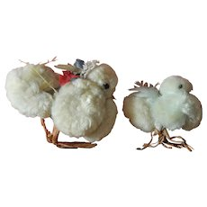 Set of cute old pompom Easter chicks for doll