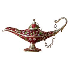 Pretty vintage enamel Aladdin's lamp for doll display