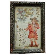 Sweet antique postcard & letter in frame for doll