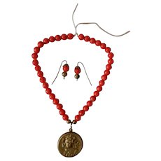Lovely red-orange coral beaded Art Nouveau doll jewelry