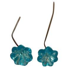Beautiful antique ice blue flower glass doll earrings