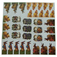 Cute small vintage Easter paper die cuts-10 sheets for dolls decoupage/scrap book