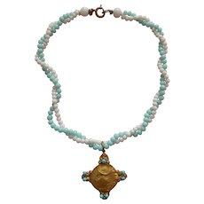 Very pretty Art Nouveau lady cross necklace for bebe