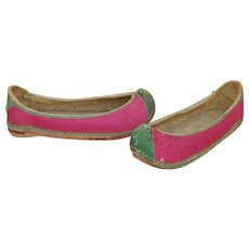 Interesting antique silk & leather shoes for child/large doll