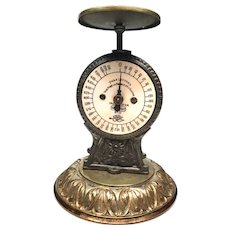 Antique Nineteenth Century Iron and Brass Kitchen Scale