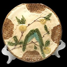 Antique French Majolica Faience Plate Kissing Lovebirds