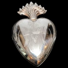 Antique Sterling Silver French Ex Voto Sacred Heart