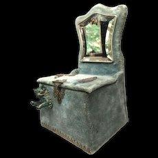 Antique Nineteenth Century French Velvet Vide Poche Porte Montre