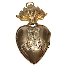 Antique Nineteenth Century French Gilded Brass Sacred Heart Ex Voto Reliquary