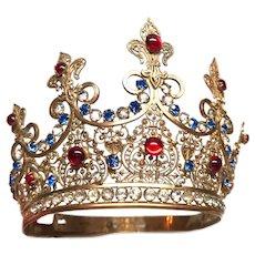 Antique Nineteenth Century French Gilded Bronze Brass Santos Madonna Religious Crown