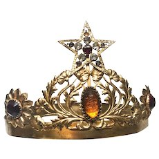 Antique French Gilded Brass/Metal Theatre Crown