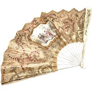 Antique Nineteenth Century French Advertising Eventail Lady's Folding Fan
