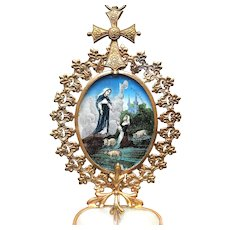 Antique Nineteenth Century French Benetier with Eglomise Scene and Mother of Pearl Font
