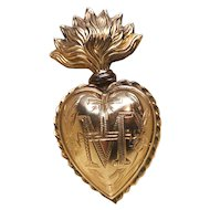 Antique Nineteenth Century French Gilded Brass Sacred Heart Ex Voto