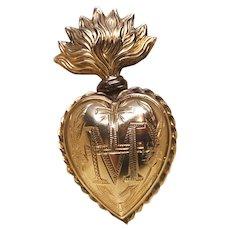 Antique Nineteenth Century French Gilded Brass Sacred Heart Ex Voto