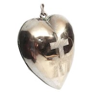 Antique Nineteenth Century Silver Sacred Heart Ex Voto Reliquary Pendentif