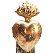 Antique Nineteenth Century Gilded Brass Sacred Heart Ex Voto Reliquary