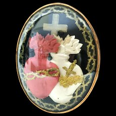 Large Antique 19th Century French Double Sacred Heart Framed Reliquary Ex Voto