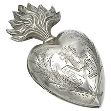 Antique 19th Century French Silver Sacred Heart Ex Voto