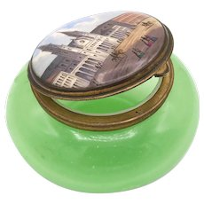 Antique 19th Century French Green Opaline Palais Royal Box