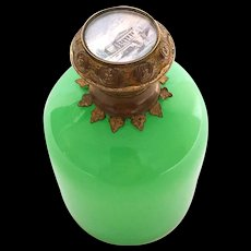 Antique Palais Royal Green Opaline Scent Bottle w/Eglomise Scene