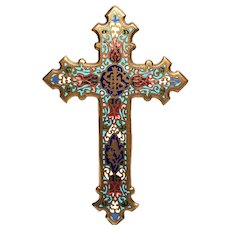 Large Antique Nineteenth Century Bronze Champleve Devotional Crucifix
