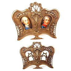 Antique French Bronze Double Picture Frame