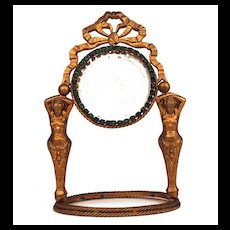 French Table/Vanity Mirror with Green Glass Stones