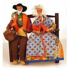 Pair of Vintage French Santon Dolls