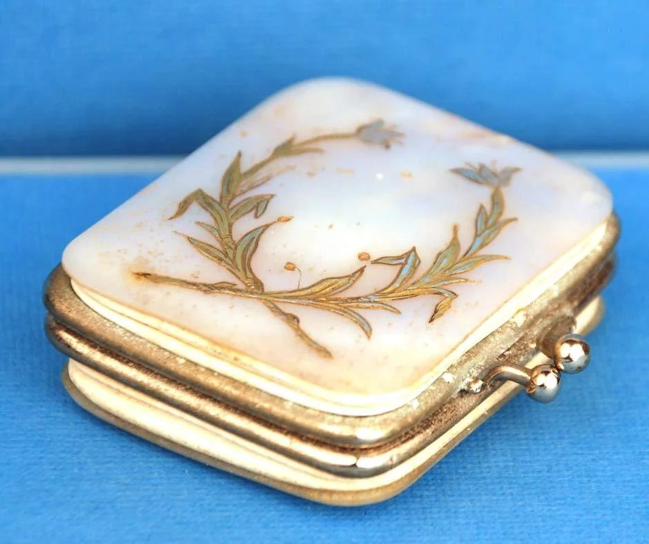 Antique Nineteenth Century French Mother Of Pearl Brass