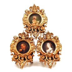 Miniature Cast Metal/Bronze Triple Picture Frame
