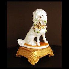 German Porcelain Figural Dog w/Baby Pigs in Basket