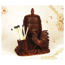 Antique German Hand Carved Figural Black Forest Tobacco Box w/Match Holder