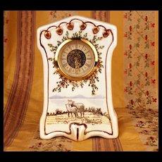 West Germany Porcelain Mantel Clock w/Handpainted Pastoral Scene