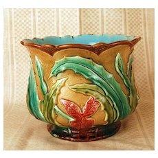 Antique French Majolica Cache Pot