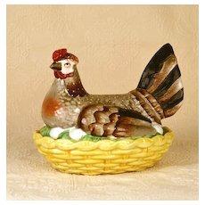 Rare Antique Nineteenth Century Staffordshire Nesting Hen on Basket