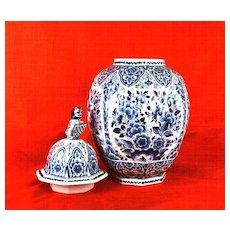Large Delft Ginger Jar w/ Lion Holding an  Écusson